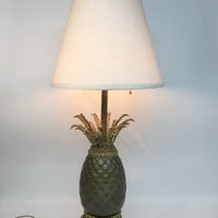 Antique Pineapple Lamp, Pineapple Lamp, Brass Pineapple Lamp, Hollywood Regency Lamp, Old Hollywood Decor, Brass Pineapple, Pineapple Decor