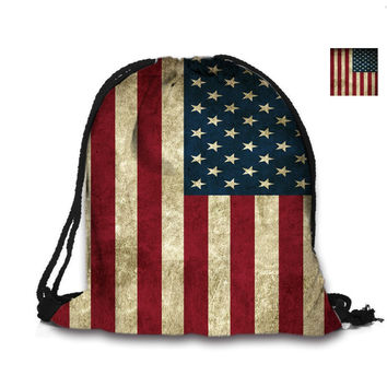 Custom Bag 3D Printing Drawstring Bag American Flag Backpack Printed Double Sides For Woman School Girl Bag USA Flags Bags