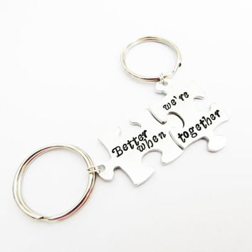Better When We're Together Couple's key chains, Best Friends Interlocking Puzzle Keychain, Metal Stamped, jigsaw puzzle pieces charms