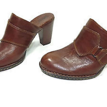 womens BORN quality leather Tan Brown Stylish Mules Shoes size 9 M