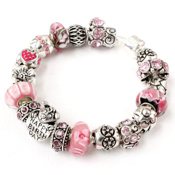 Charm bracelet with Happy Birthday strawberry cupcake charms pink Murano glass lampwork beads European bracelet birthday gift for her