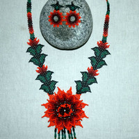 Masterpiece Huichol Native American Necklace Earrings Set Beadwork Huichol Jewelry Sets Necklace and Matching Earrings Flower Jewelry