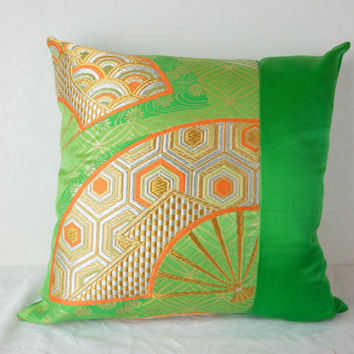 "Traditional Japan Cushion Cover  ""Golden Fan in Spring"" (Japanese; Traditional Japan; Made in Japan; Japanese Pillows; Pink Kimono Pillow)"