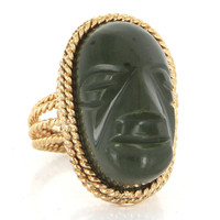 Vintage 14 Karat Yellow Gold Carved Jade Cocktail Statement Ring Fine Jewelry