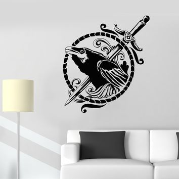 Vinyl Wall Decal Black Raven Symbol Sword Gothic Style Bird Stickers Unique Gift (1611ig)