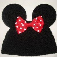 Custom crocheted Minnie Mouse ears hat beanie with a red bow photo prop