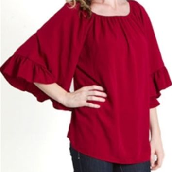Emma Rose Bell Sleeve Burgundy Top 20399