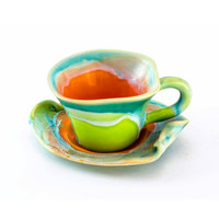 Stoneware cup coffee tea saucer small clay  - unique handmade created with love to enamel colours - orange green turquoise