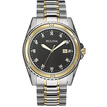 Bulova Mens 12 Diamond Dress Watch - Black Dial - Two-Tone Case/Bracelet
