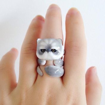Mary Lou Grey Persian Cat Trio Rings