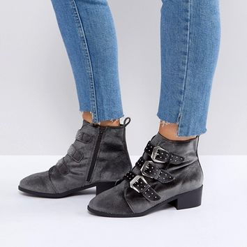 New Look Stud Western Velvet Pointed Ankle Boot at asos.com