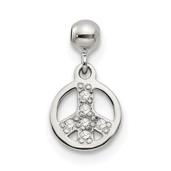 Sterling Silver Mio Memento CZ Dangle Peace Charm