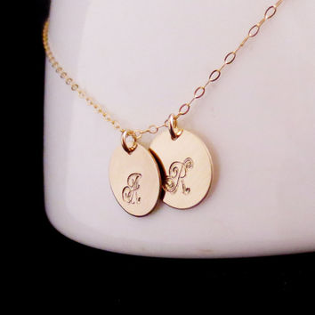 Gold Initials Necklace, Two Discs, Mommy Jewelry, Mothers Necklace, Kids Childrens Names, Handstamped Personalized, Minimalist