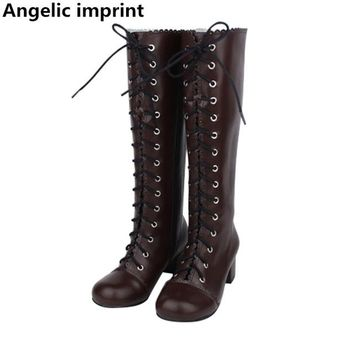 Angelic imprint Japan classic mori girl Women motorcycle shoes lady lolita Boots woman princess med heels pumps dress boots 46