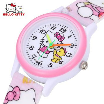 Hello Kitty Kids Watches Girls Children Pink Dress Wrist Watch Cute Child Cartoon Silicone Baby Clock Saat Relogio Montre Enfant