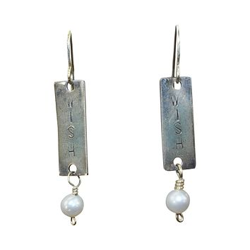 Wish Stamped Pearl Earrings