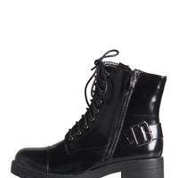 Patent Buckled Combat Boots - Black - Black /