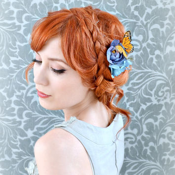 Butterfly hair clip, floral hair accessory, whimsical hair piece