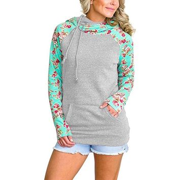 Patchwork Floral Hoody Top with Pockets