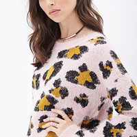 FOREVER 21 Fuzzy Leopard Pattern Sweater Pink/Black