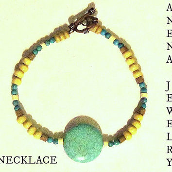 "Men's Necklace: Turquoise, Wood And Brass Closure""I Am Worthy Of Love"""