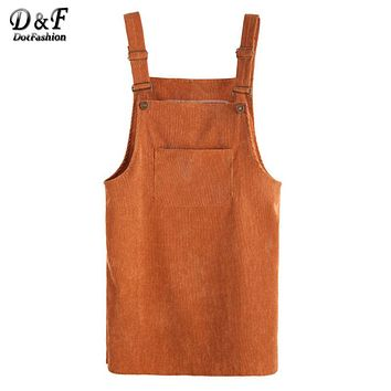 Dotfashion Corduroy Overall Dress With Pocket Spaghetti Strap Shift Dress 2017 Autumn Ladies Sleeveless Short Dress