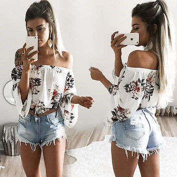 2017 Fashion Summer Women Floral Top Casual Off Shoulder Long Sleeve Chiffon HalterT-Shirt