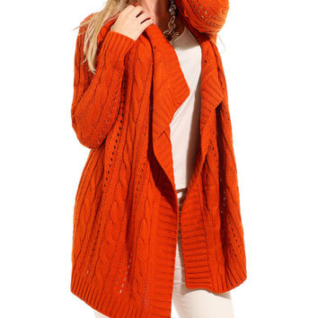 Orange long cardigan long cardigan woman from Knitfashionable