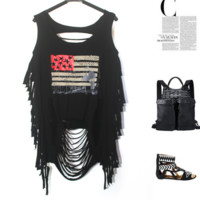 Sexy pattern print  holes hollow vest black top
