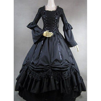 Long Sleeves Square Neck Narrow Waist Plain Black Gothic Victorian Dress - $96.99
