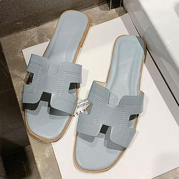 Hermes Summer Popular Women Candy Color Leather Beach Slipper Sandals Shoes Blue