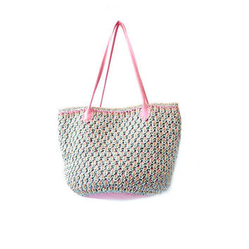 Straw beach bag basket woven bag raffia crochet purse vegan leather bottom straw handbag pink aqua boho bag raffia purse straw bag boho bag