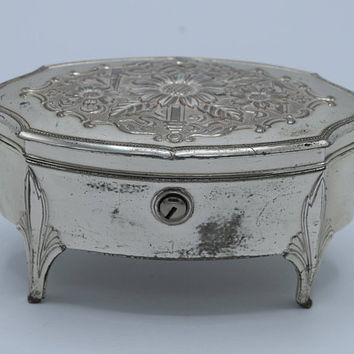 Occupied Japan Ornate Floral Design Silver Tone Jewelry Box with Key Vintage Metal Footed Trinket Box Velvet Velour Lined