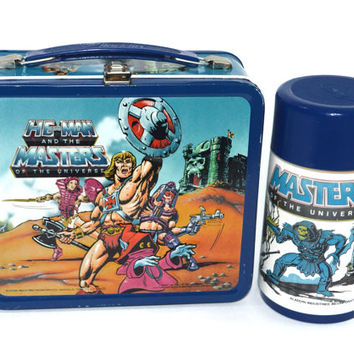 Vintage 80s Masters of The Universe Aladdin Metal Lunchbox with Thermos