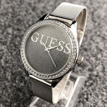 """GUESS"" Fashionable Ladies Men Chic Diamond Starry Sky Dial Movement Watch Business Wristwatch"