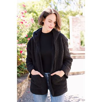 One of These Days Hooded Fuzzy Open Jacket, Black