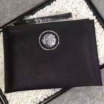 VERSACE File hand bag Leather Handbag Tote Satchel H-A-XYCL
