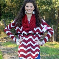 Casually Comfy Chevron Top in Maroon