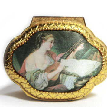 Vintage Trinket Box Jewelry Box Renaissance Art Musical Instrument String Instrument Theorbo Lute Mandoline Guitar Footed Box Made in Japan