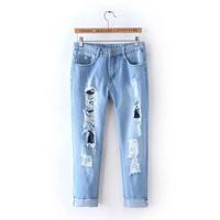 Stylish Summer Women's Fashion Ripped Holes Denim Rinsed Denim Casual Pants Capri [4919983300]