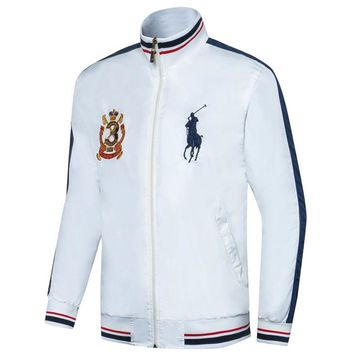 Polo Ralph Lauren 2018 autumn and winter new men's waterproof and windproof cardigan jacket White