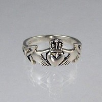 Silver Ring Claddagh w/ Celtic Knotwork Size 4-13