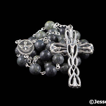 Anglican Rosary Beads Green Russian Serpentine Stone Natural Stone Prayer Beads Silver Christian Episcopal Rosary Gift Mens Rosary