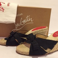 Christian Louboutin Tiburon Sandals Wedge Espadrilles Slides Black 36/ 6 In Box