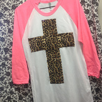 3/4 Sleeve Neon Pink with Leopard Cross and Crystal Accents