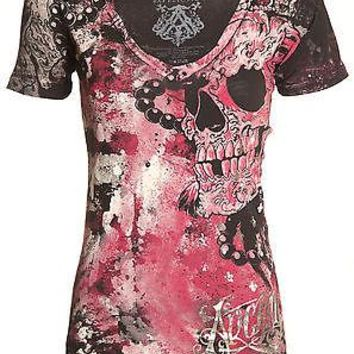 Licensed Official Archaic AFFLICTION Womens T-Shirt HYDRATE Skulls Tattoo Biker UFC Sinful $40