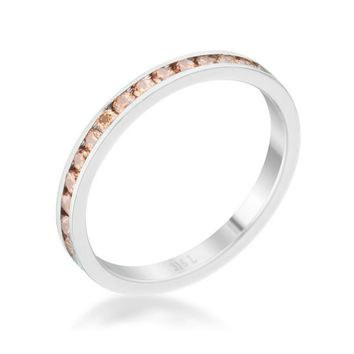 Teresa Champagne Stainless Steel Eternity Stackable Ring | 1ct | Cubic Zirconia | Stainless Steel