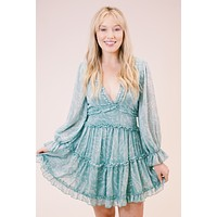 Feels Like Spring Printed Ruffle Detailed Dress, Seafoam