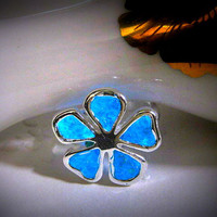 Glow in the Dark Ring, Glow Ring, Glow Jewelry, Glow Flower Ring, Silver Flower Ring, Silver Glow Ring, Blue Glow Ring, Stained Glass Ring,
