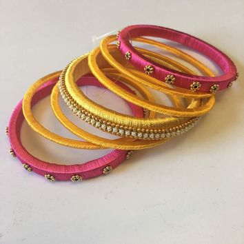 Handmade Silk Thread Bangle Set